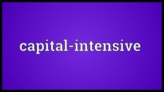 Capital-intensive Meaning