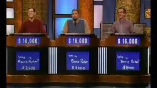 Jeopardy! 3 way tie. First time ever. March 16 2007