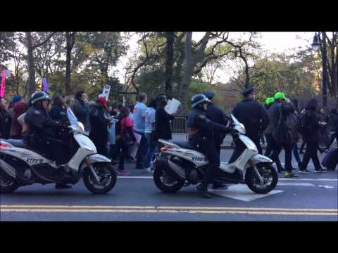 NYPD ESCORTING & MANAGING A ANTI PRESIDENT-ELECT TRUMP PROTEST MARCH IN MIDTOWN, MANHATTAN, NYC.
