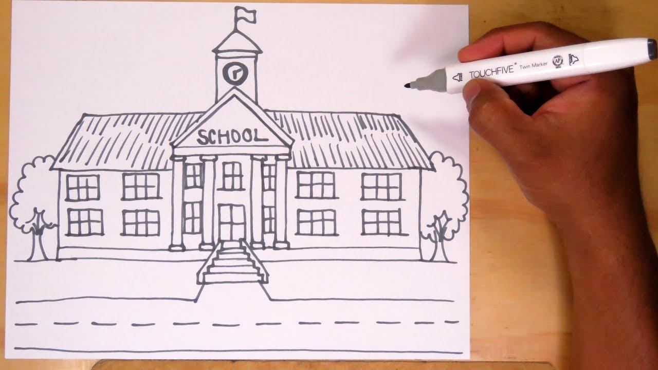How To Draw A High School Aprende A Dibujar Una Escuela Secundaria