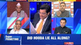 The Newshour Debate: Auditor nails Bhupinder Singh Hooda lie - Part 1 (17th Oct 2014)