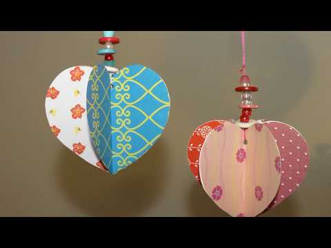 Paper craft ideas.Mothers day/ Valentine/wedding day hanging paper heart decoration/gift idea