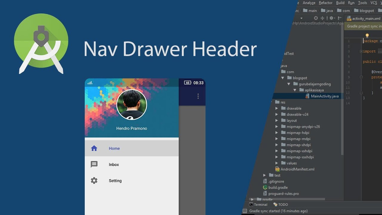 customize navigation drawer header in android studio youtube