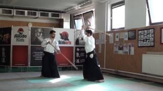 6  jo kata partner practise 2 jo -ken ( staff vs boken) [TUTORIAL] Aikido advanced weapon technique