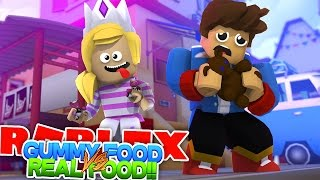 ROBLOX GUMMY FOOD V'S REAL FOOD CHALLENGE - EAT A BEAR OR A GUMMY BEAR? Candy Land Obby w/ BABY HUGO