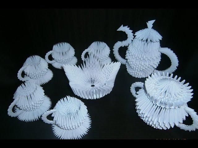 Смотреть картинки оригами из бумаги по модулям чайный сервиз, герасимов идет