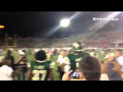 #csufootball Ty Sambrailo gets to the Bronze Boot first after 45-31 win over Wyoming
