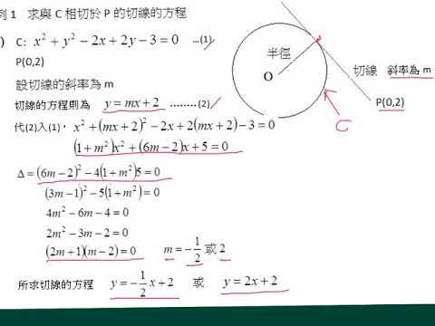 中五數學_下學期_直線的方程_圓的切線方程(2) - YouTube