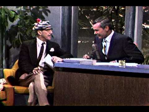 """Groucho Marx Surprises Johnny Carson in His Animal Crackers Suit on """"The Tonight Show"""""""