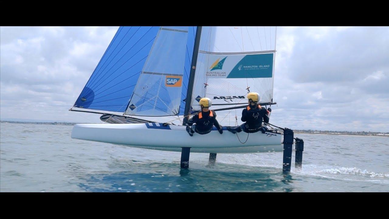 Team Rietman/White Foiling Nacra 17 Australia.