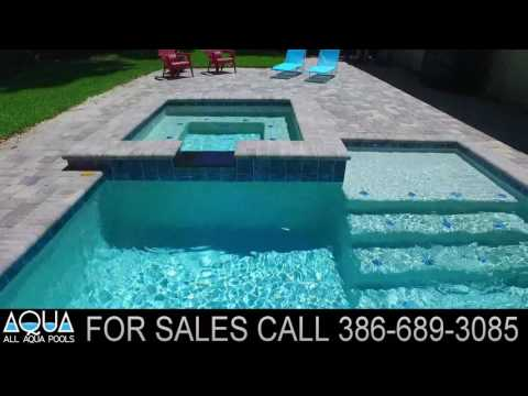 Modern pool with spa and sun shelf - Port Orange, FL - All Aqua Pools