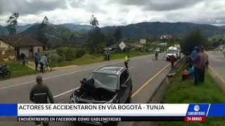 Mabel Moreno e Iván López sufrieron un accidente en la vía Bogotá-Tunja