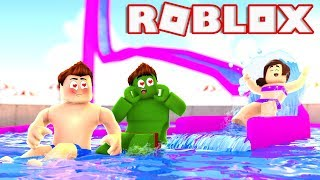 A DAY at the WATER PARK at ROBLOX (Robloxian Waterpark)