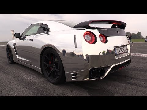 1000HP CHROME Nissan GT-R w/ Akrapovic Exhaust – 0-297 km/h Accelerations!