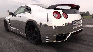 1000HP CHROME Nissan GT-R w/ Akrapovic Exhaust - 0-297 km/h Accelerations!
