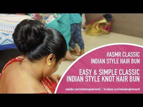 ASMR Indian Classic Knot Bun |  Indian Classic Everyday Knot Bun | Tight Oiled Bun For Long Hair