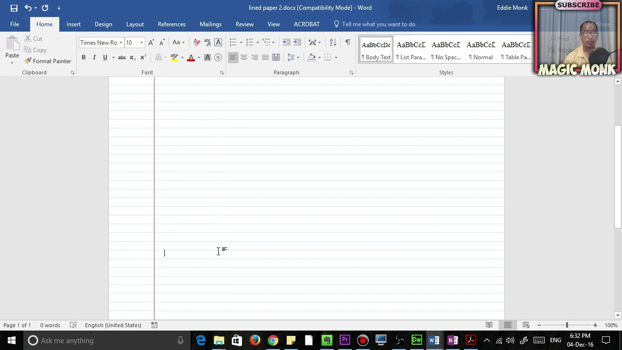 Lined Paper In Microsoft Word PDF