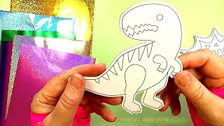 Dinosaur Rawr!  Foil Art Magnet Set DIY Activities for Kids Hobby Lobby Time