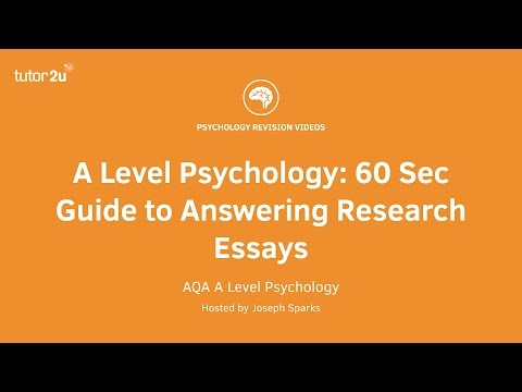 A Level Psychology: 60 Second Guide to Answering Research Essays
