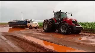 Trator massey ferguson 8690 desatolado caminhão Mercedes Benz