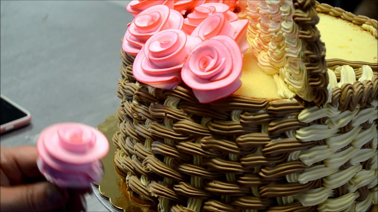 How To Make A Basket Of Flowers Cake : How to make d basket of flowers cake
