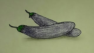 how to draw purple eggplant step by step