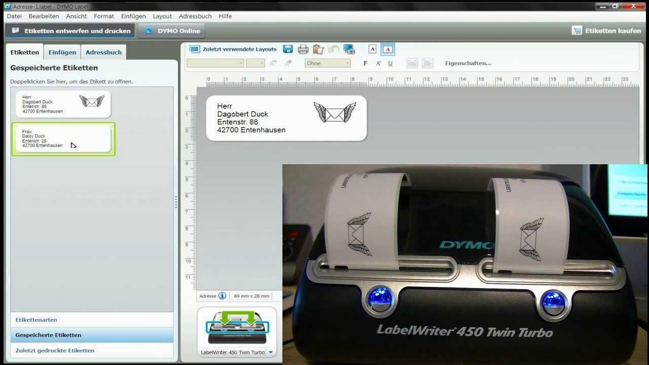 Label-Writer - Etiketten-Drucker Dymo 450 Twin Turbo S0838870 - Test ...