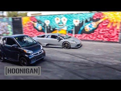 [HOONIGAN] DT 058: Lamborghini vs Electric Smart Car Drag…