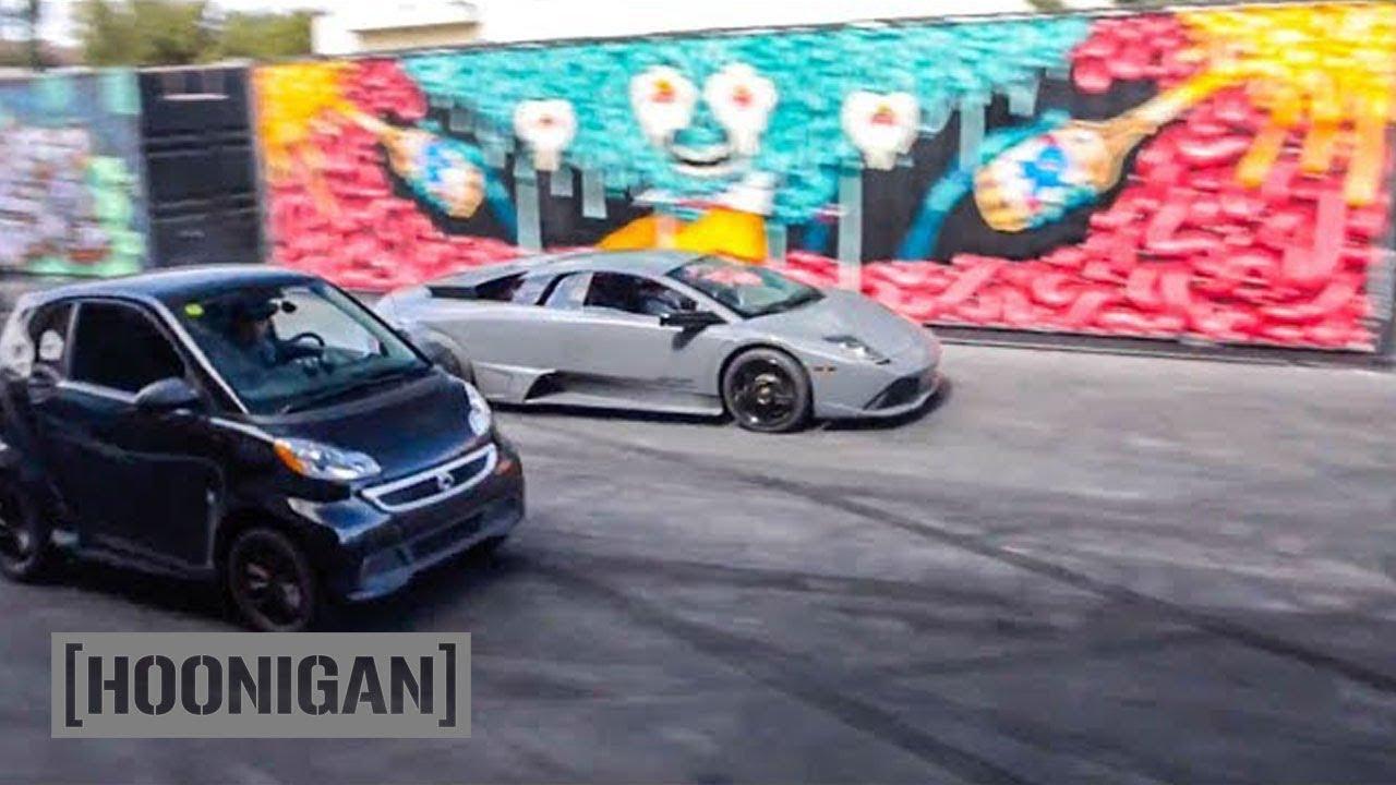 [HOONIGAN] DT 058: Lamborghini Vs Electric Smart Car Drag Race #SPACERACE