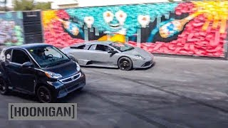 [HOONIGAN] DT 058: Lamborghini vs Electric Smart Car Drag Race #SPACERACE