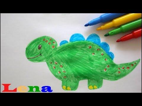 Dinosaurier Zeichnen Malen Für Kinder How To Draw A Dinosaur For Kids как рисовать динозавра