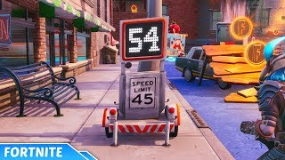 Go Faster than 30 Through Both Speed Traps Locations - Fortnite (Downtown Drop Challenges)