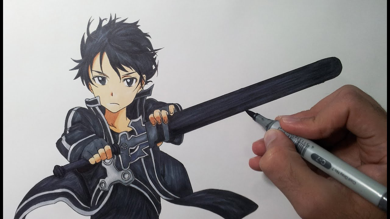 Drawing kirito sword art online