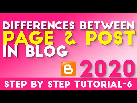 Differences Between Pages And Posts In Blogger Tutorial-6 Hi