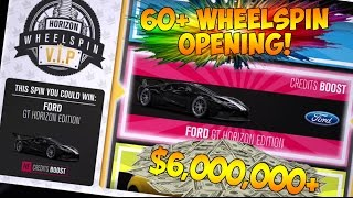 Forza Horizon 3 - INSANE 60+ WHEELSPIN OPENING! 6+ MILLION CREDITS EARNED!
