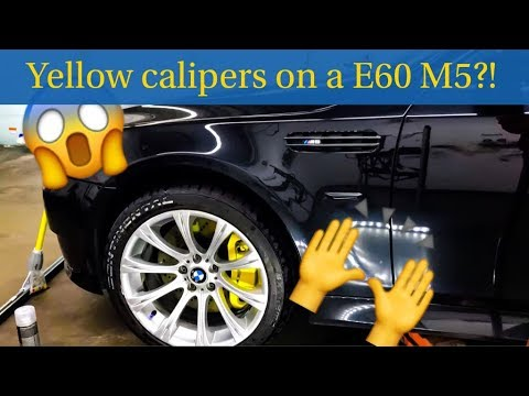 Spray Painting Calipers Yellow on a E60 M5 (Time-lapse)