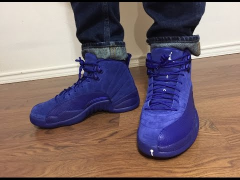 best service 111e6 b0a93 Jordan Retro 12 Suede Deep Royal Blue unbox and on feet ...