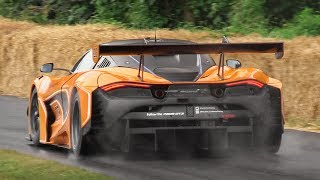 McLaren 720S GT3 Sound, Accelerations & Burnouts on Wet!