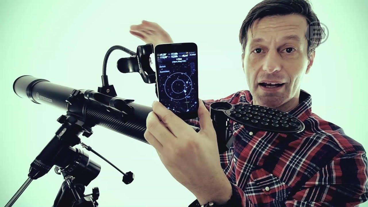 Bresser teleskop smartphone halter youtube