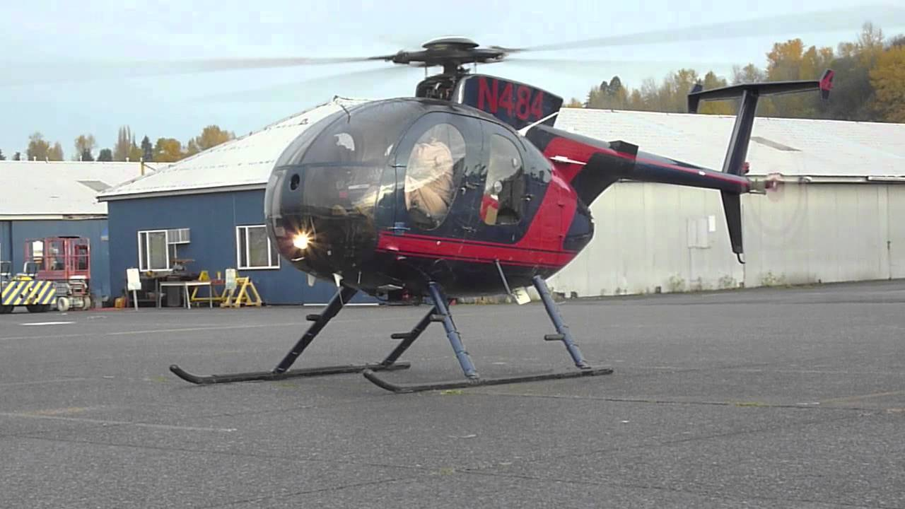 Huey Helicopter For Sale >> MD500 Helicopter engine start and takeoff at KBFI Seattle - YouTube