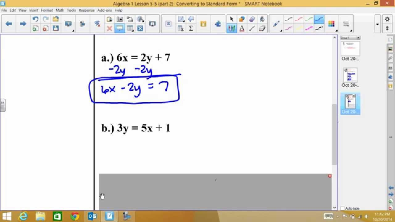 Algebra 1 lesson 5 5 part 2 converting to slope intercept and algebra 1 lesson 5 5 part 2 converting to slope intercept and standard form falaconquin