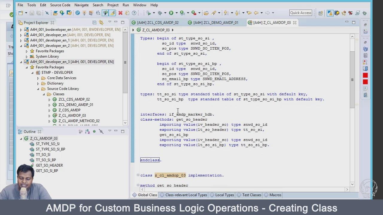 AMDP for Custom Business Logic Operations Creating Class