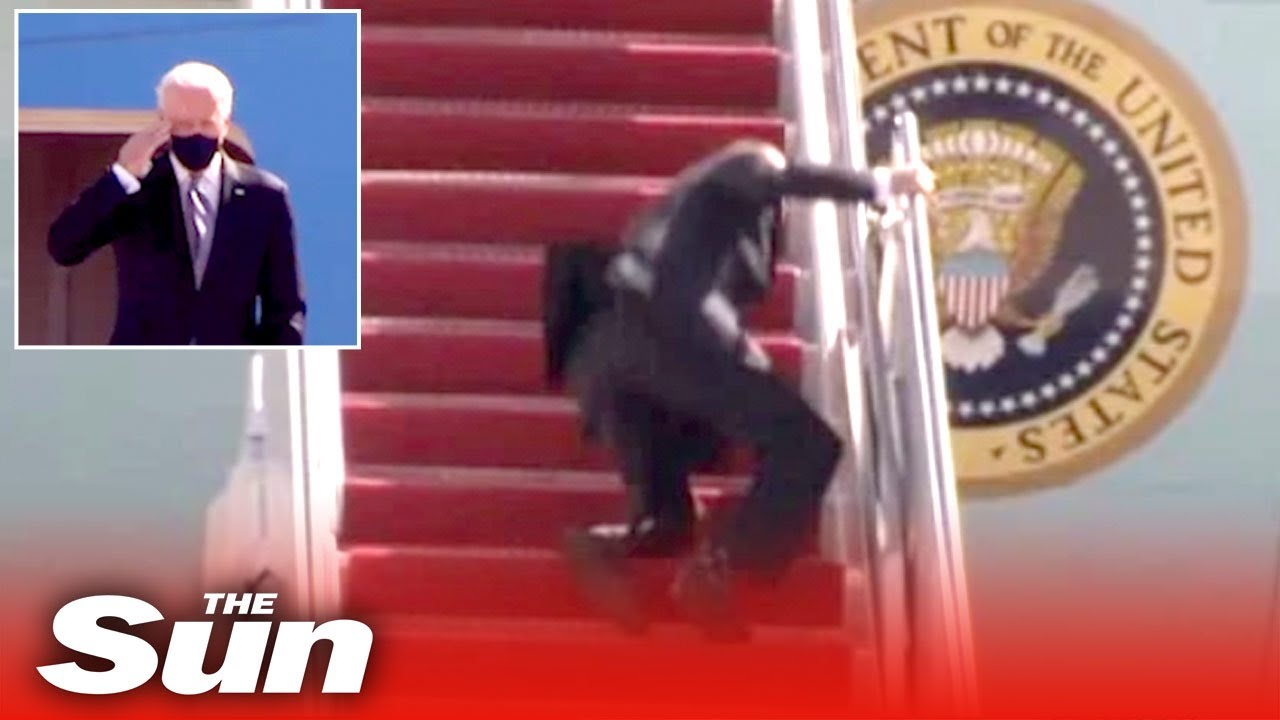 Biden keeps falling up the stairs as he boards Air Force One