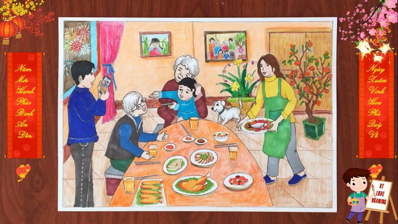 Vẽ tranh đề tài ngày tết – Bữa cơm tất niên ngày tết – ktlovedrawing