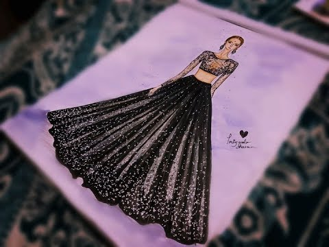 How To Draw Black Lehenga And Top Ii Simple Fashion Illustration Drawing Youtube