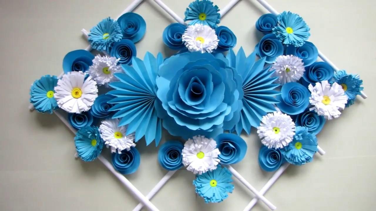 Hướng dẫn làm hoa giấy treo tường. Trang trí phòng. trang trí nhà. 55