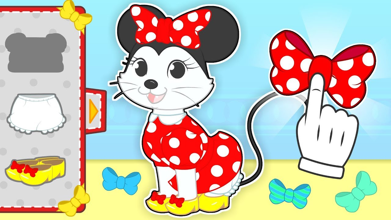 baby-pets-dressing-up-kira-the-cat-as-minnie-mouse-cartoons-for-children
