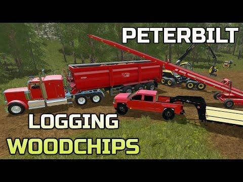 FARMING SIMULATOR 2017 | LOGGING | TRANSPORTING WOOD CHIPS | PETERBILT 389