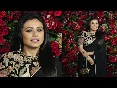 Rani Mukherjee In Black Saree At Deepika Padukone And Ranveer Singh Wedding Reception