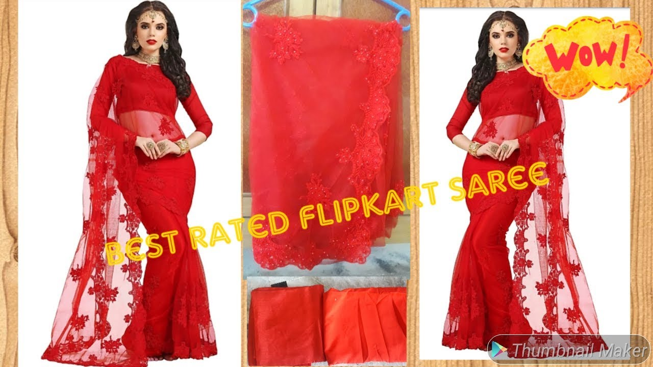 451228385d Beautiful red saree unboxing !!Darshita embroidered net saree unboxing !!  best rated on flipkart !!